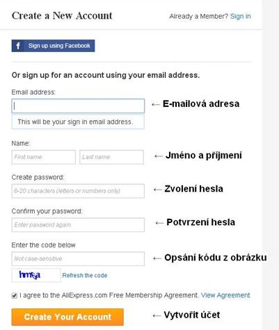Registační formulář