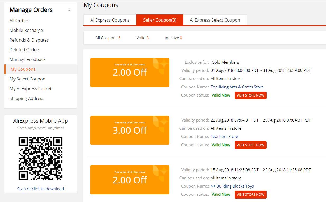 Přehled kupónů z AliExpress